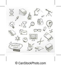 badając, i, wykształcenie, szkice