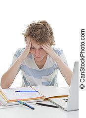 badając, student, praca domowa, dziecko