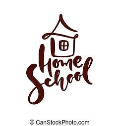 badając, wektor, kaligrafia, dom, tekst, dom, icon., emblemat, nauka, online., logo., szkoła, ilustracja, pojęcie, tytuł, wykształcenie