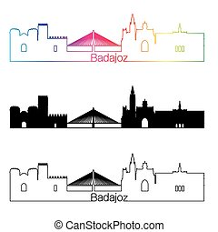 Badajoz skyline linear style with rainbow