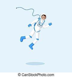 badanie, kosmonauta, badacz, przelotny, illustration., ...