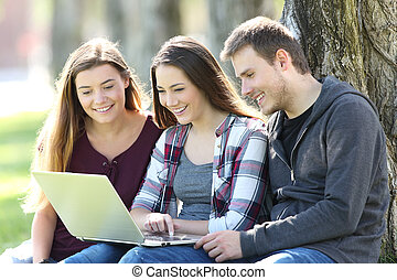 badawczy, media, trzy, nastolatki, zadowolenie, online