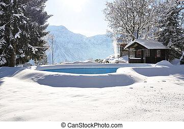 badbassäng, höjande, med, snö