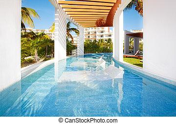 badbassäng, hos, karibisk, resort.