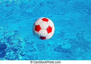 badbollen, blå, simning, flytande, slå samman