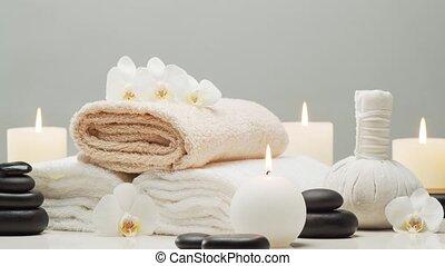 baddoek, achtergrond., kaarsjes, masseren, balls., spa,...