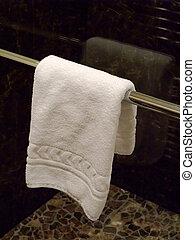 baddoek, hangend, in, een, badkamer