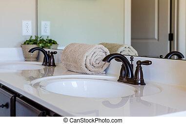 baddoek, in, moderne, badkamer