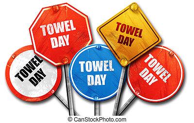 baddoek, verzameling, meldingsbord, dag, straat, vertolking, ruige , 3d