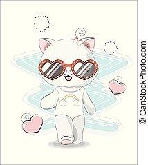 badeanzug, sonnenbrille, m�dchen, katz