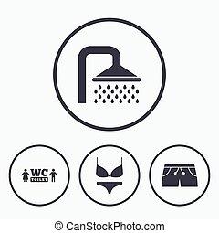 bademode, icons., dusche, teich, signs., schwimmender