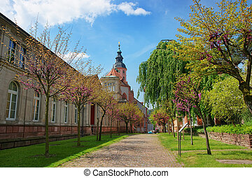 Baden Baden church Stiftskirche and park in Germany