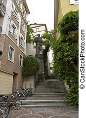 Baden Baden street fragment with stairs and statue