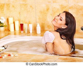 baden, frau, badezimmer