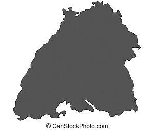 Baden, mapa,  -, alemania,  wuerttemberg