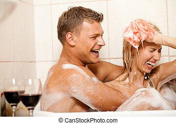 baden, paar, junger