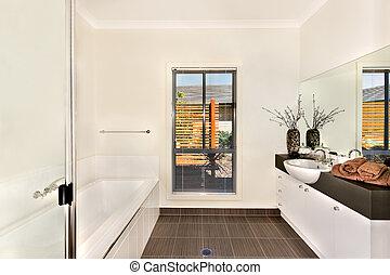 badezimmer, gegenüber, modern, baden, wasser, bereich, spiegel, wanne
