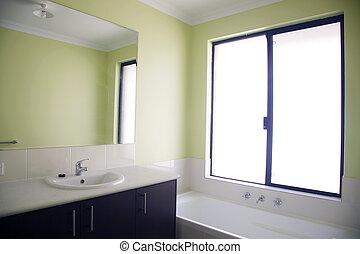 badezimmer gr n badezimmer modern zwei bertragung stockfotografie suche bilder. Black Bedroom Furniture Sets. Home Design Ideas