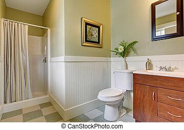 Tub., badezimmer, remodeled, groß, wände, grün, neu ...