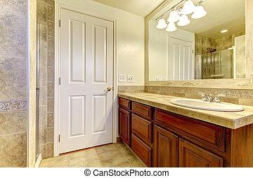 Stein nat rlich fliesenmuster badezimmer holz cabinet - Fliesenmuster dusche ...