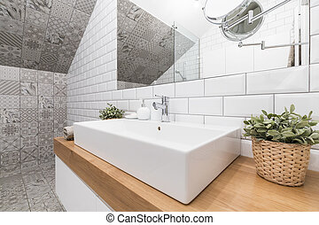 badezimmer, modern, eindrucksvoll, frau, bedürfnisse,...