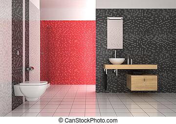 Badezimmer schwarz rot badezimmer rendering modern clipart suche illustration - Fliesenmuster schwarz weiay ...