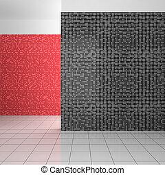 Badezimmer modern fliesenmuster schwarz wei rot zeichnungen suche clipart illustration - Fliesenmuster schwarz weiay ...