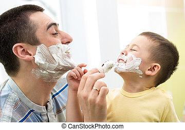 badezimmer, seine, vater, sohn, verspielt, spaß, haben, rasieren