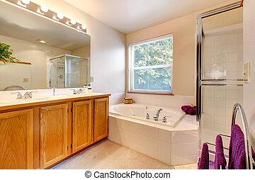 Badezimmer, Tür, Einfache , Bad, Dusche, Glas, Inneneinrichtung, Wanne