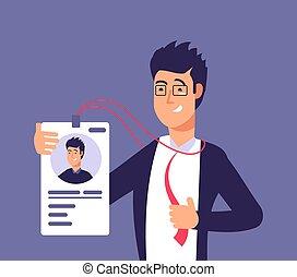 badge., affari, concept., illustrazione, vettore, scheda identificazione, impiegato, sicurezza, id, identità, uomo