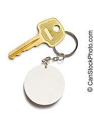 Badge and key on the white background