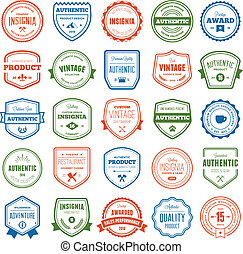 Badge and label collection - Set of various badges and...