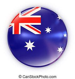badge- Australian flag 3d illustration