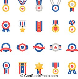 Badge Awards vector color icons set
