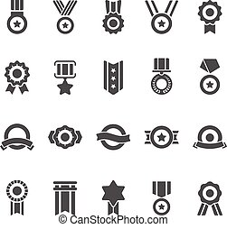 Badge Awards vector solid icons set