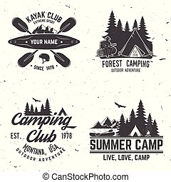 badge., camping, club, caravanning, ensemble, kayak