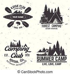 badge., camping, klubba, caravanning, sätta, kajak