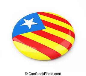 badge Catalan nationalist flag on a white background 3D illustration, 3D rendering