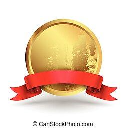 Badge circle with red ribbon