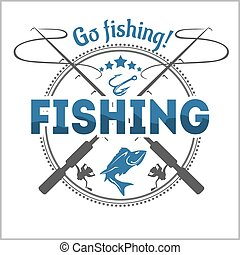badge, communie, ontwerp, embleem, visserij