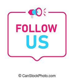 badge, concept, media., ons, sociaal, pictogram, volgen, logo.