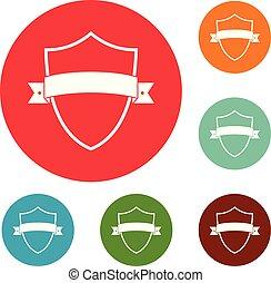 Badge element icons circle set vector