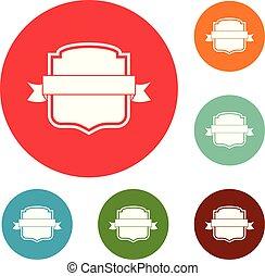 Badge emblem icons circle set vector