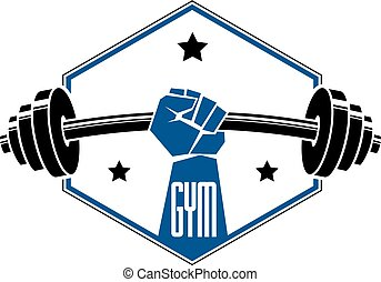 badge., emblema, sport, club, palestra, o, barbell,...
