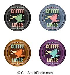 badge., ensemble café, symbole
