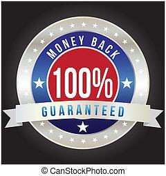 badge, formaat, geld, procent, back, vector, honderd, guaranteed