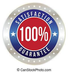 badge, formaat, procent, bevrediging, vector, honderd, borg...