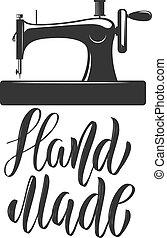 badge., gabarit, main, couture, machine., élément, étiquette, emblème, made., emblème, signe, logo, conception