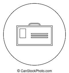 Badge icon black color in circle