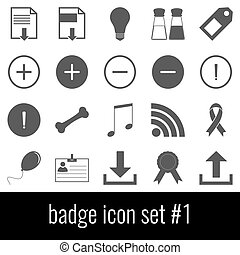 Badge. Icon set 1. Gray icons on white background.